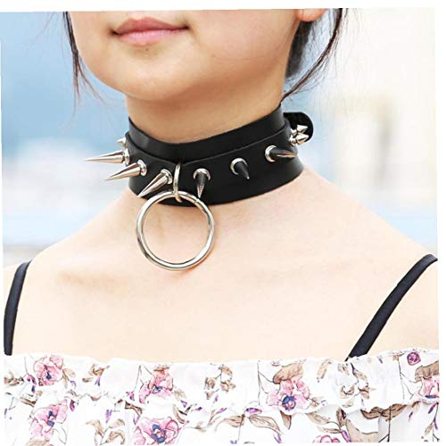 Hotaden Big Round Punk Gothic Chokers Women Men Leather Silver Spike Rivet Stud Collar Choker Necklace Statement