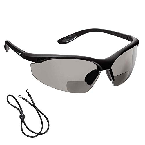 voltX 'CONSTRUCTOR' BIFOCALE VEILIGHEIDSLEESBRIL (ROOKKLEURIG/GRIJS +3.5 Dioptrie) CE EN166F Gecertificeerde/Fiets- of Sportbril inclusief veiligheidskoord + UV400 lens met anti-mist coating