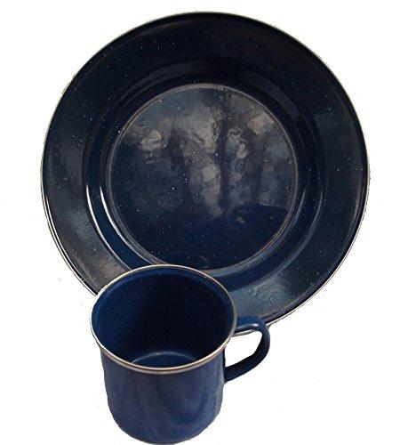 Christian Nachtsheim Versandhandel Emaille Campinggeschirr Teller + Tasse blau
