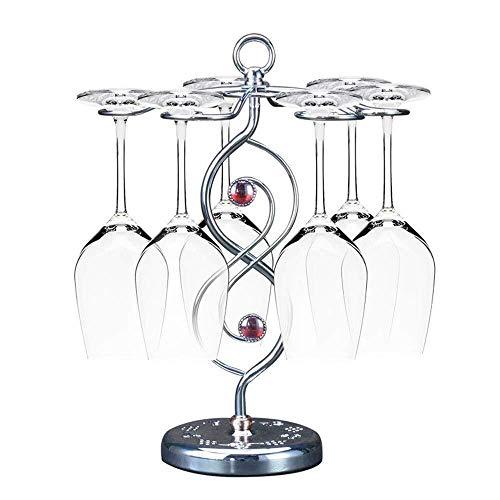 Estantería de vino Arte elegante botellero 6 de gancho copas de vino cromo-metal tono vino de mesa estante estante, caja de adornos de almacenamiento soporte de pie muebles de cocina estantería estant