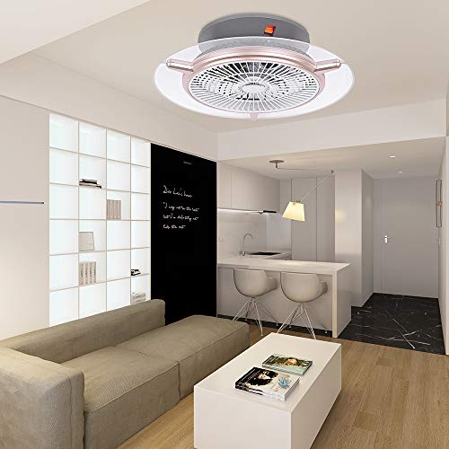 Ventilador de techo LED, 48 W, diámetro 56 cm, 3000 K-6000 K, colores regulables con mando a distancia, 3 velocidades, dormitorio, lámpara de oficina, restaurante, salón iluminación