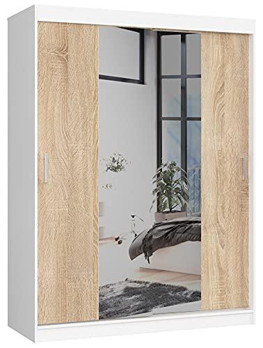 Armario Deslizante 150cm CLP con Espejo Blanco/Sonoma