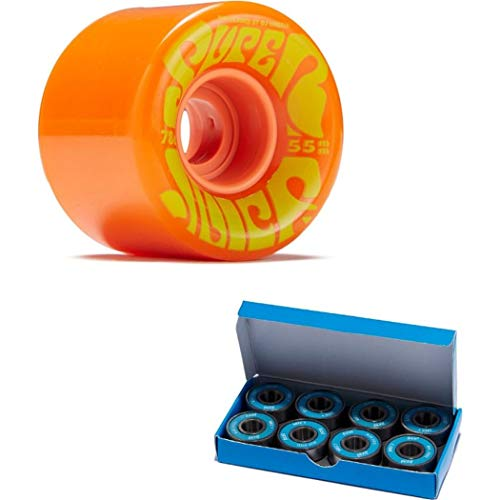 OJ III Skateboard Cruiser Wheels Mini Super Juice Orange 55mm 78A with CCS ABEC 7 Bearings