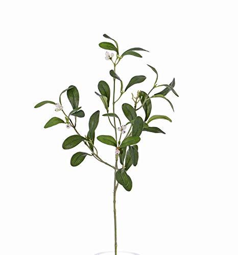 artplants.de Künstlicher Mistelzweig SAJAN mit Beeren, grün, 55cm - Zweig künstlich