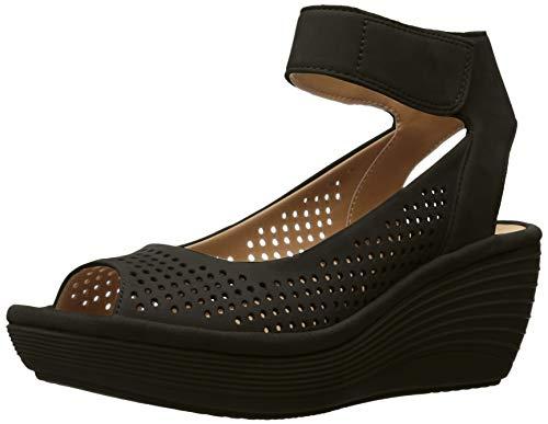 CLARKS dames wighak sandalen, zwart