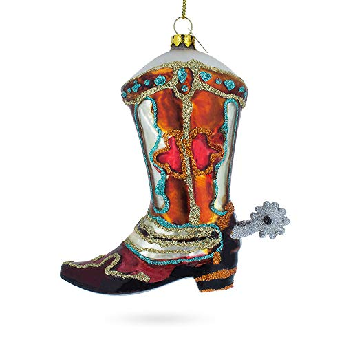 BESTPYSANKY Cowboy Boot Glass Christmas Ornament