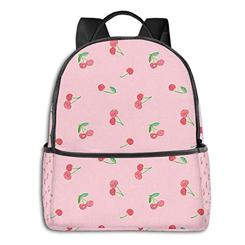 Qucoost Cherries Daypack With Side Pockets, College School Bookbag Anti-Theft Multipurpose
