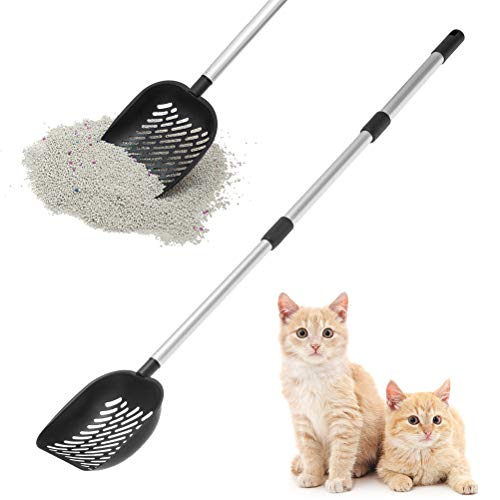 of compost sifters dec 2021 theres one clear winner EXPAWLORER Metal Cat Litter Scoop - Detachable & Adjustable Long Handle with Deep Sifting Shovel - All Stainless Steel Non-Stick Cat Litter Sifter, No Need to Bend
