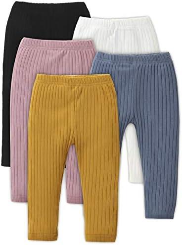 U/·nikaka Unisex Baby 0-48 Months 5-Pack Pants in Grey White Black Orange and Pink