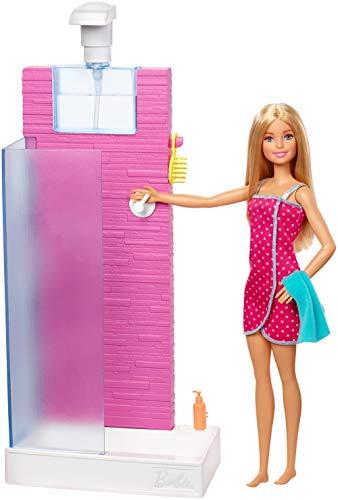 Barbie Mobilier coffret d'intérieur poupée et cabine de douche Fonctionnelle avec 3 accessoires de bain, jouet pour enfant, FXG51