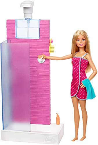 Barbie Doll and Furniture Set, Bathroom with Working Shower and Three Bath Accessories, Gift Set for 3 to 7 Year Olds​​