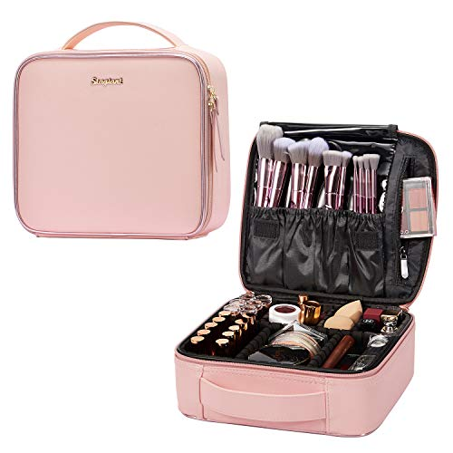 Stagiant Makeup Bag Portable Travel Makeup Train Case PU Leather Cosmetic Storage...
