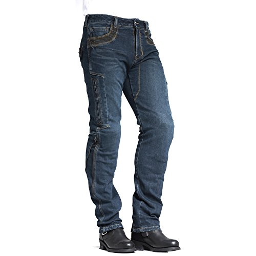 MAXLER JEAN Biker Jeans for men - Slim Straight Fit Motorcycle Riding Pants, 002 Blue (Size 34)