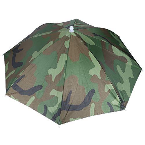 Paraguas plegable Cap al aire libre paraguas sombrero a prueba de viento poliéster material para pesca durable