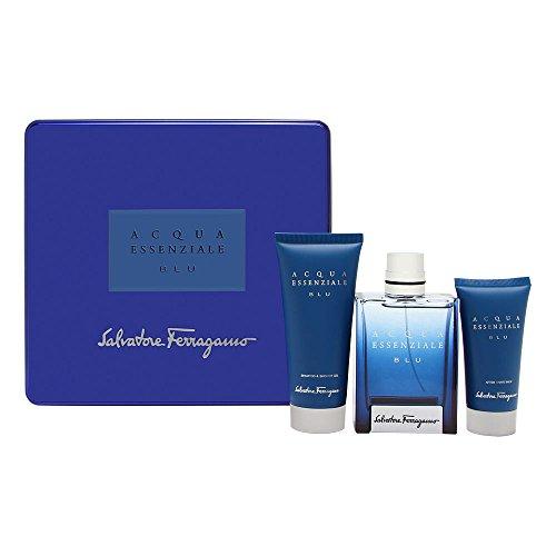 SALVATORE FERRAGAMO - Acqua Essenziale Blue CABALLERO 100 ml EDT Spray **set 3 pzs**