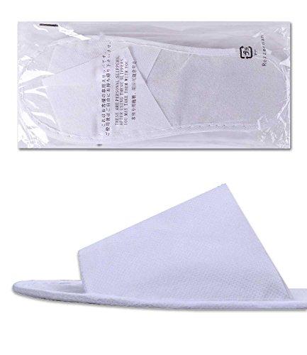 ROZZERMAN 不織布スリッパ セット スリッパ ホワイト 50個セット まとめ買い(外装文字入)V5 (白50セット)