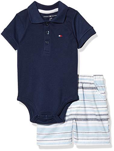 Tommy Hilfiger Baby Boys' 2 Pieces Polo Shorts Set, Navy/Blue/Grey, 18M