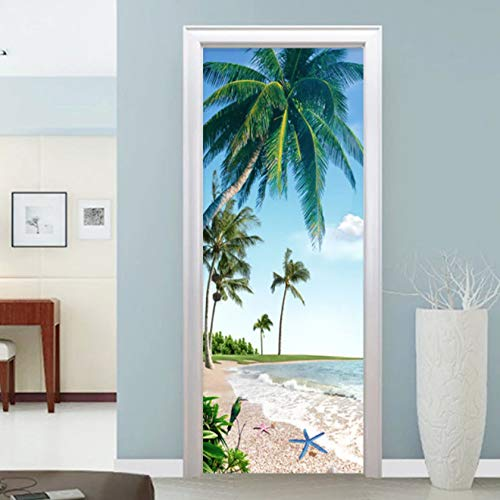 langlun Self-Adhesive Door Sticker 3D Beach Coconut Palm Landscape Wall Paper Restaurant Bathroom Waterproof Wall Stickers