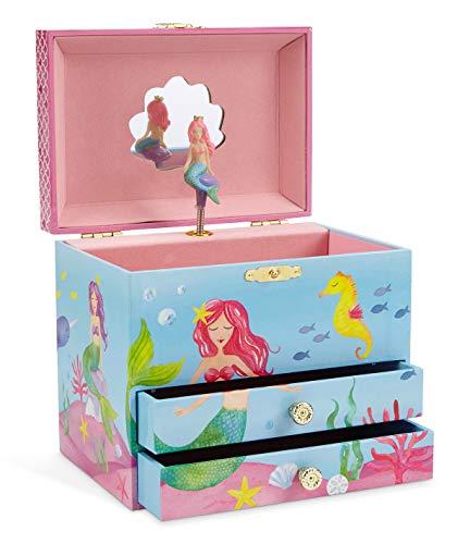 Jewelkeeper - Meerjungfrau Spieluhr Schmuckschatulle, Unterwasser Design mit Zwei Ausziehfächern - Sobre las Olas Melodie