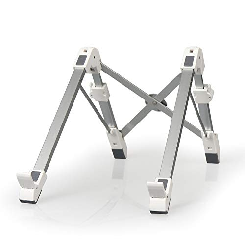 JJYF Non-slip Laptop Stand Multi-Angle Adjustable Laptop Holder Aluminum Portable Laptop Riser Ventilated Cooling Stand Lightweight Holder Riser for Mac/PC/Notebook 10-17.3'-Silver