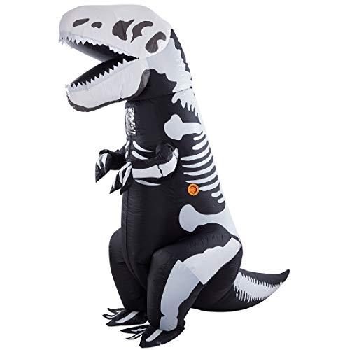 Lulu Home Dinosaur Costume, Inflatable T-Rex Dinosaur Costume for Adult, Brown, Red, Black & White (Black & White)
