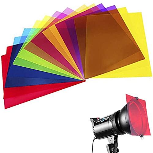 Paquete de 14 hojas de plástico de color superposiciones de transparencia, gel corrección, filtro de luz, 21.7 x 27.8 cm, 7 colores surtidos
