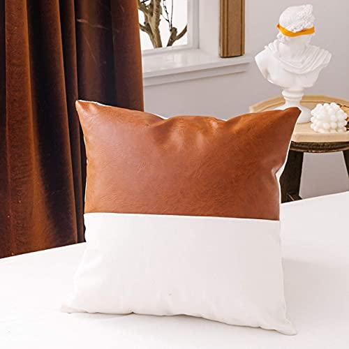 Boho - Federa decorativa in ecopelle e cotone e lino, per divano letto, colore: nero, bianco, marrone, moderno motivo geometrico a righe e triangoli, 45 x 45 cm