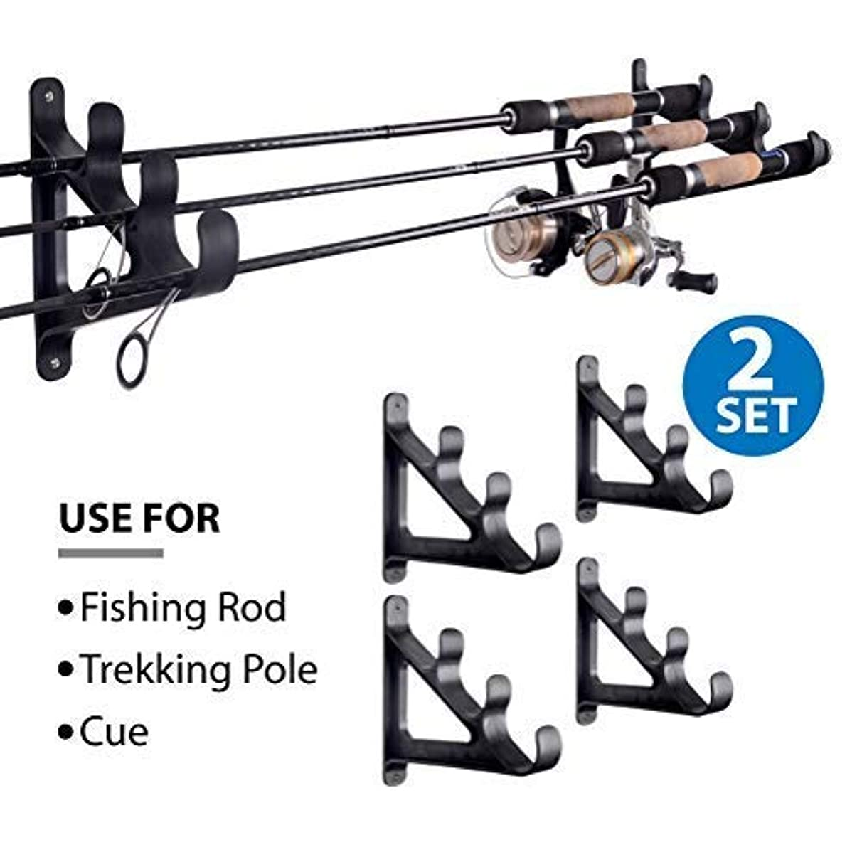 CAIKEI Horizontal Rod Rack for Fishing Rod Wall Rack Storage-Ultra Sturdy Strong Weatherproof Holds 3 Rods- Space Saving for Fishing Rods,Hiking Poles, Ski Poles, Hockey Sticks and Cue,2 Set