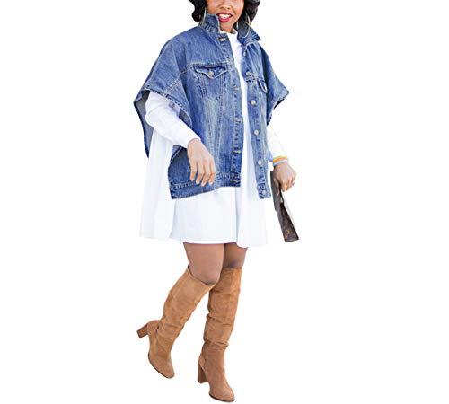 Women's Fashion Loose Denim Cloak Coats Washed Destroyed Denim Jackets Outerwear Vests 4