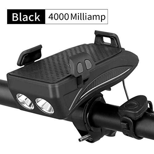 Luz De Bicicleta Led con Zumbador Zumbador Bocina BateríA Incorporada USB Cargando 4 En 1 Luz De Bicicleta