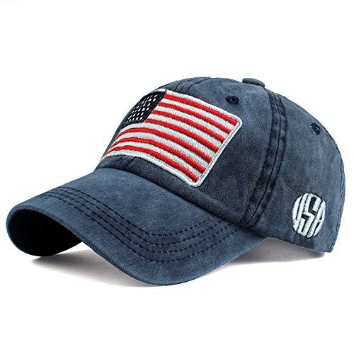 Tianre Unisex gewaschen Papa Hüte Baumwolle Vintage USA Flagge Trucker Caps Low Profile Sommer Baseballmütze Polo-Stil außerhalb Sport Running Cap (Color : Blue)