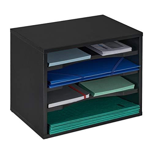 Relaxdays Dokumentenablage, große Briefablage, 4 Fächer, für Schreibtisch, Organizer HxBxT 28 x 35,5 x 25 cm, schwarz, 1 Stück