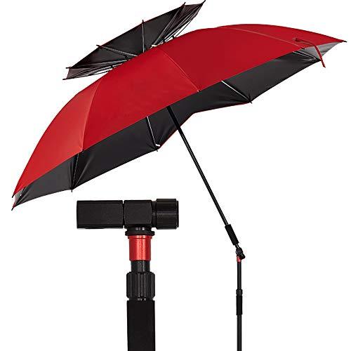 T-XYD Visserij Parasol, Draagbare Zonneschaduw Paraplu, Koolstofstaaf Dubbele Laag Vissen Zonnescherm Vouwen 2 M / 2.2 M Zonwering Regenbestendig Anti-UV