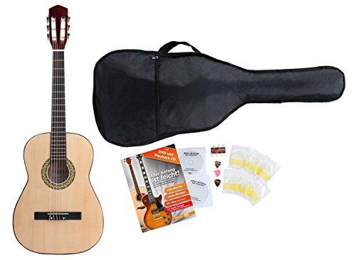 Classic Cantabile Acoustic Series AS-851-L Klassikgitarre 3/4 für Linkshänder Starter-SET (Konzertgitarre, Bag/Tasche, Schule, CD, DVD, Plektren, Saiten, Stimmpfeife) natur