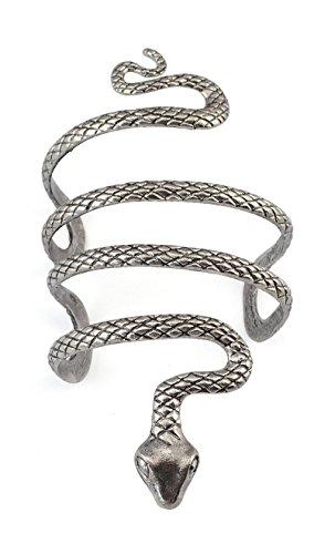 idealway Vintage Punk Silver Snake Open Bangle Cuff Bracelet for Men Women