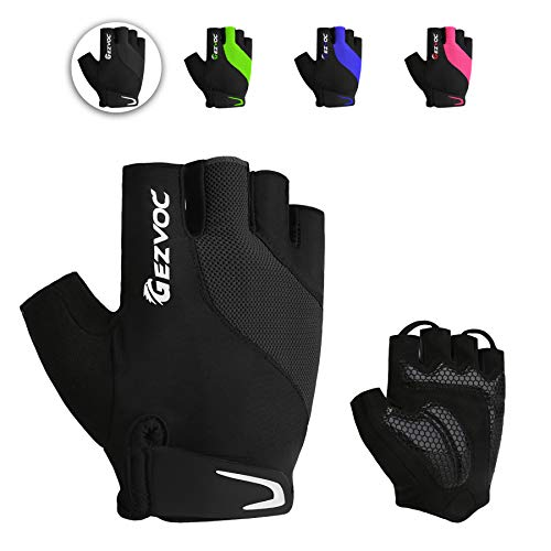 GEZVOC Cycling Gloves Bike Gloves Biking Gloves for Men with Shock-Absorbing Pad, Extra Grip,Flexible and Comfortable Fit,Light Weight,Breathable Mountain Bike Gloves (Black, Large)