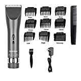 Sminiker Professional Hair Clippers Cordless Haircut Machine Barber Shavers Rechargeable Hair Cutting Kit with , 9 Comb, Guides – Grey
