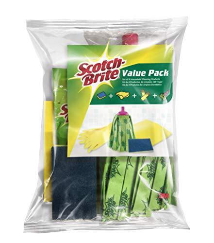 Scotch-Brite Kit de Limpieza para el hogar, Pack, Incluye Bayeta, Estropajo, Fregona y Guantes