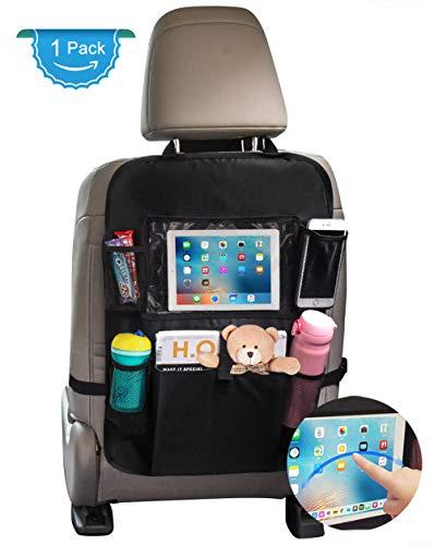 """Auto Rückenlehnenschutz, Autositz Organizer Rücksitz Schutz mit Spielzeug/10 \""""iPad Tablet Halter Trittschutz Sitzbezüge Kick Matten, Auto Sitzschutz Zubehör für Kinder Baby Schwarz"""
