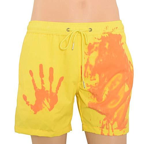 Viloree Farbwechselnde Herren Badeshorts Badehose Sport Beach Boardshorts Strand Surfshorts Temperaturempfindlich Gelb bis orange XL