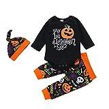 Geagodelia - Pijama de manga larga con letras y pantalones con estampado de calabaza y calavera + sombrero para niño de Halloween Negro 6-12 Meses