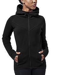 Urban Classics Damen Ladies Athletic Interlock Zip Hoody Kapuzenpullover, Schwarz (Black 7), M