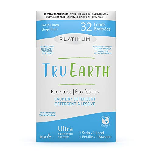 Tru Earth Platinum Eco-friendly Ultra Concentrated Compostable & Biodegradable Plastic-Free Heavy Duty Laundry Detergent Eco-Strips (32 Loads, Fresh Linen)
