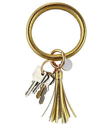 THOMELA Schlüsselanhänger Armreif - Quast - Kunstleder - goldene Ringe & Schnellverschluss - Modetrend 2020 - Geschenkbox Set (Gold)