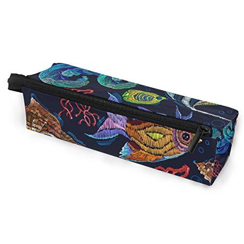 Sonnenbrillen Soft Protector Box Rhombus Federmäppchen Stifteetui Tasche Bunte Meeresfische Multifunktionstasche mit Reißverschluss für Studenten, Kinder, Jugendliche, Mädchen, Frauen, Männer, Jungen