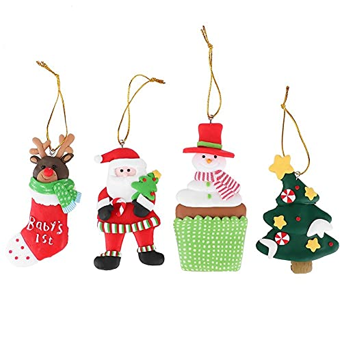 Conkergo 4pcs/Set Santa Claus Pendant Xmas Hanging Ornaments Decorations Magnets Refrigerator Stickers Gifts