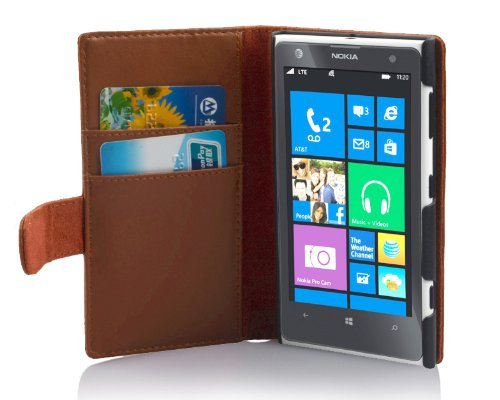 Cadorabo Hülle für Nokia Lumia 1020 - Hülle in KAKAO BRAUN – Handyhülle mit Kartenfach aus glattem Kunstleder - Case Cover Schutzhülle Etui Tasche Book Klapp Style