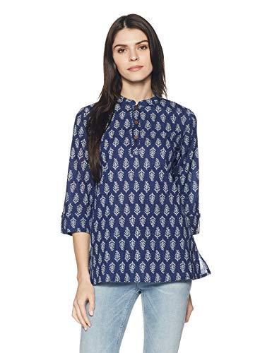 Amazon Brand - Myx Women's Cotton Straight Kurti (NIT001CORE3_Navy_Large)