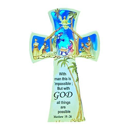 Ybzx Estatua de la Cruz de Cristo, Escultura católica, artesanía de Resina de Nacimiento de Cristo, decoración de Cristo, joyería de Jesús