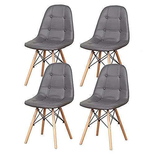 EGOONM Set 4 Sedie da Pranzo dal Design Moderno con Gambe in Massello di Faggio, Sedie da Cucina Scandinave (Grigio)